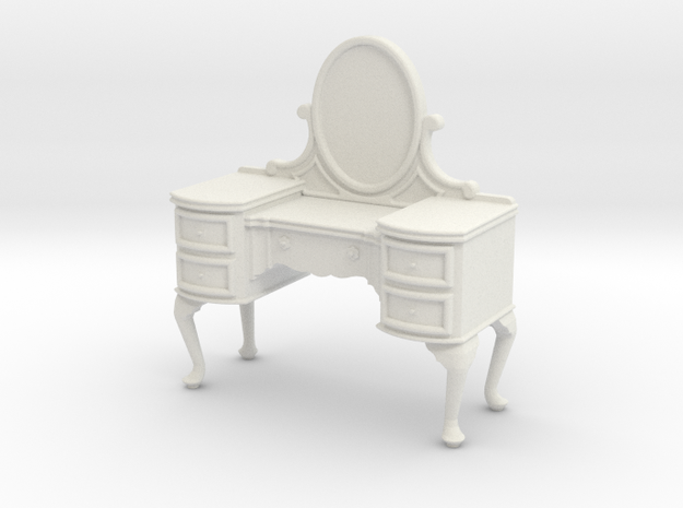 1:24 Queen Anne Vanity in White Natural Versatile Plastic