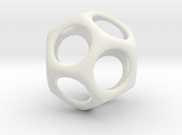 Dodecahedon - 3cm in White Natural Versatile Plastic