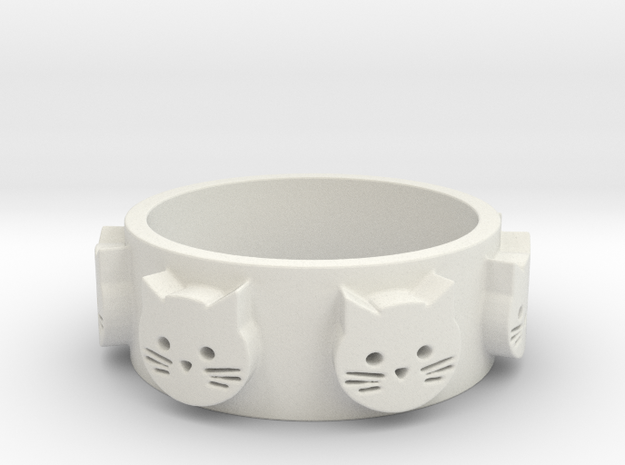 Ring of Seven Cats Ring Size 7.5 in White Natural Versatile Plastic