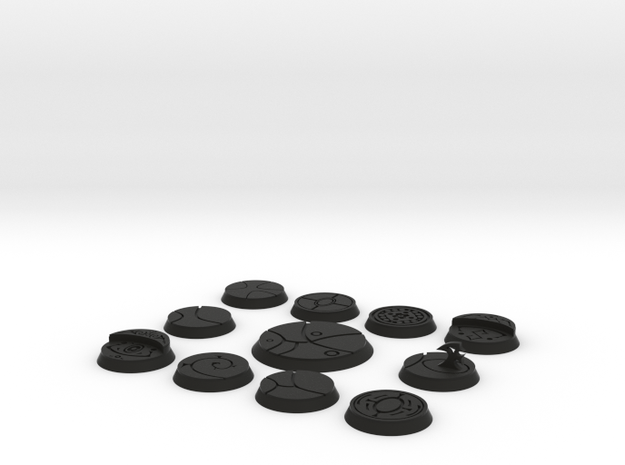 10 25mm and one 40mm alien bases 3d printed