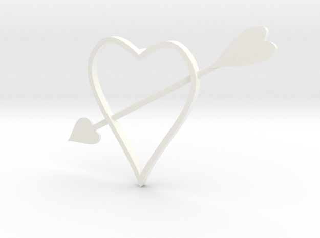 heart with arrow 200911 1720 (fixed) in White Strong & Flexible Polished