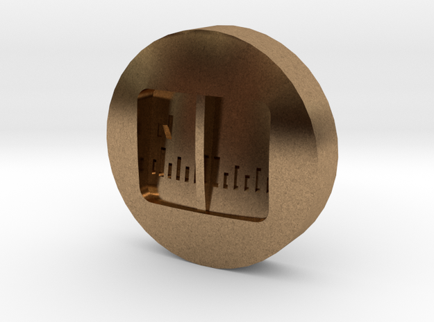 Aviation Button - Magnetic Compass in Natural Brass