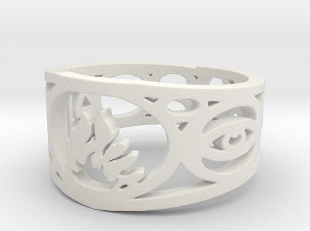 Divergent Ring Size 7 in White Natural Versatile Plastic