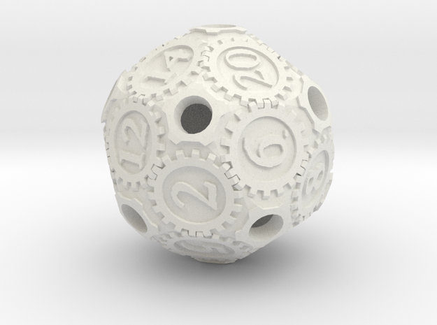 D20Gearpunk in White Natural Versatile Plastic