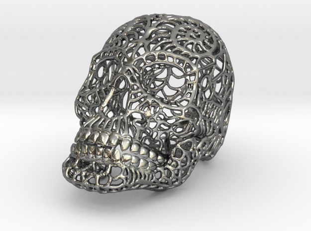 Silver Skull Cage Necklace 3d printed