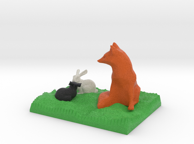 Fox Watching Two Bunnies in Full Color Sandstone