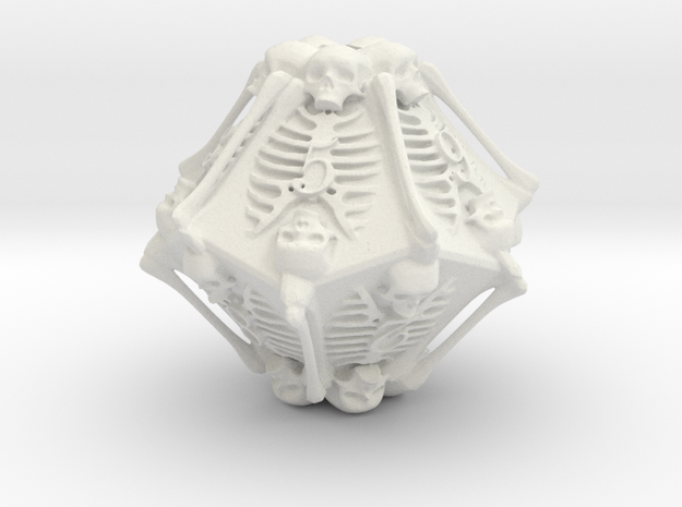 Skeleton D10 ( 10-sided die ) in White Natural Versatile Plastic