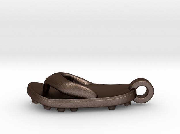 Soccer / football flipflop pendant 3d printed flipflop sandalMatte Bronze Steel