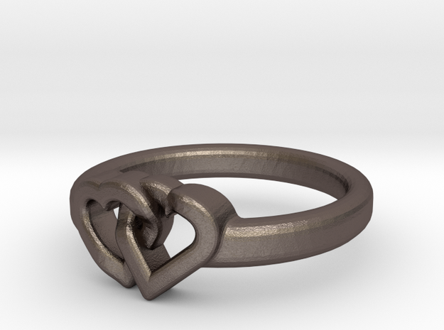 Entangled Love Small Sz18 in Polished Bronzed Silver Steel