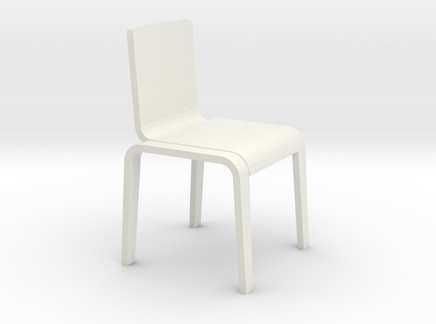1:24 Bent Chair in White Natural Versatile Plastic