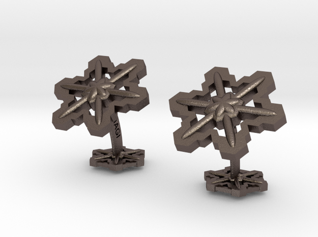 Snowflakes3Cufflinks in Polished Bronzed Silver Steel