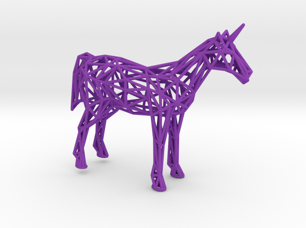 Unicorn Low Poly in Purple Processed Versatile Plastic