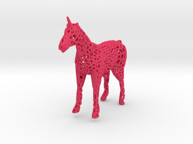 Unicorn Voronoi in Pink Processed Versatile Plastic