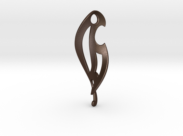 Twisted French Curve Pendant 3d printed