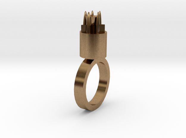 Tiger Woman star Ring 20x20 Mm More Printable in r in Natural Brass
