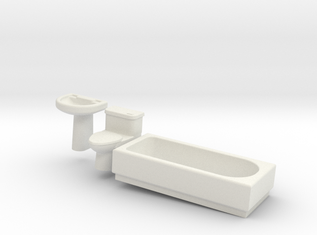 Bathroom Suite in White Natural Versatile Plastic