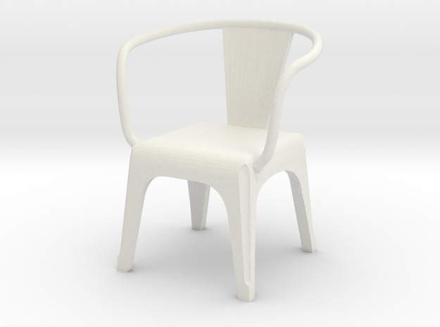 1:24 metal chair 2 in White Strong & Flexible