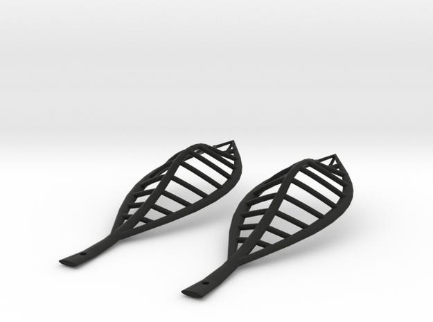 leaf elliptical earrings | 74mm 3d printed