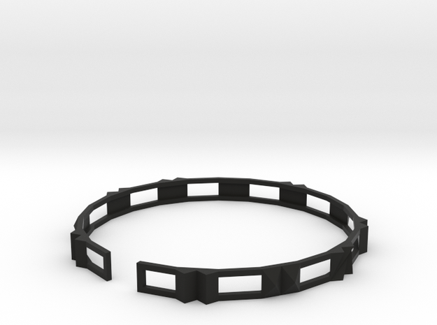 Disco - Small plastic bracelet. in Black Strong & Flexible