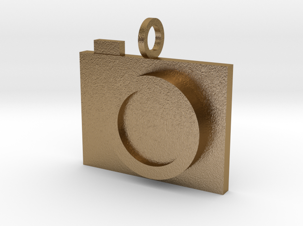 Camera Pendant in Polished Gold Steel