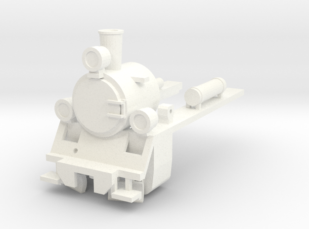 PX48 Smokebox and running plate with lamps HOe in White Processed Versatile Plastic