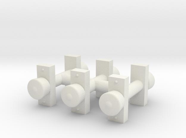 6x 3KL Rund T4D in White Natural Versatile Plastic