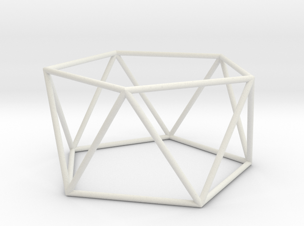 pentagonal antiprism 70mm in White Natural Versatile Plastic