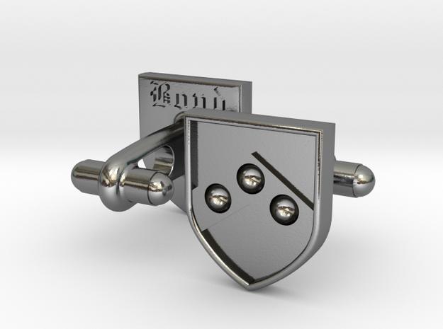 Heraldic Cufflinks [Bond] in Polished Silver