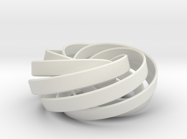 torus knot fantasy 7-6 3D in White Natural Versatile Plastic