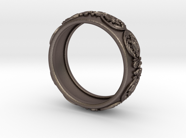 Antique pattern band in Polished Bronzed Silver Steel
