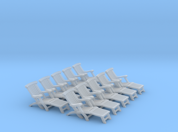 1:72 Titanic Deck Chair (Set of 10) in Smooth Fine Detail Plastic