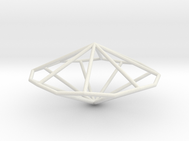 OctagonalTrapezohedron 70mm in White Natural Versatile Plastic