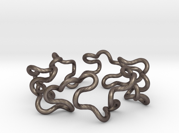 Curly Knot in Polished Bronzed Silver Steel