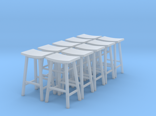 1:48 Tall Saddle Stools, Set of 10 in Smooth Fine Detail Plastic
