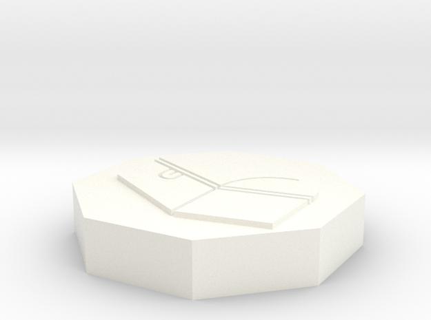 "Octogon token - 1"" Chest in White Processed Versatile Plastic"