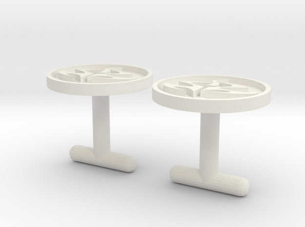 Agent 47 cufflinks, larger size in White Natural Versatile Plastic