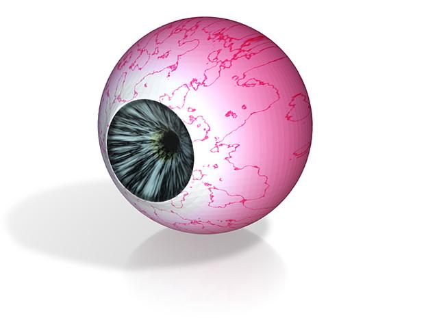 """Blue eyeball 1"""" Div3 3d printed"""