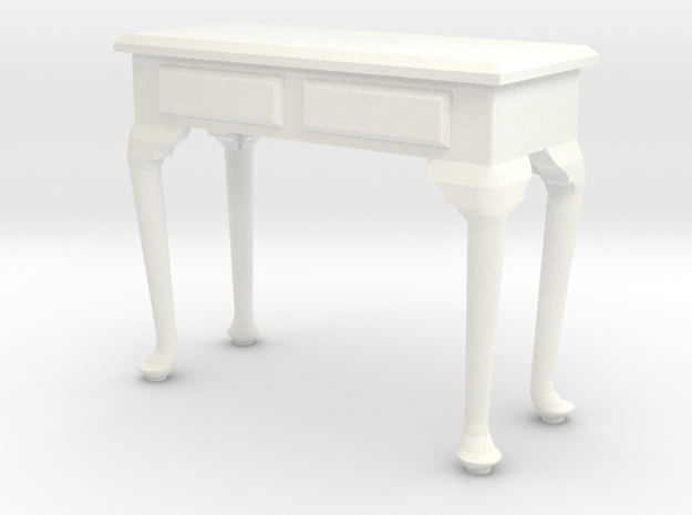 1:24 Queen Anne Console Table in White Processed Versatile Plastic