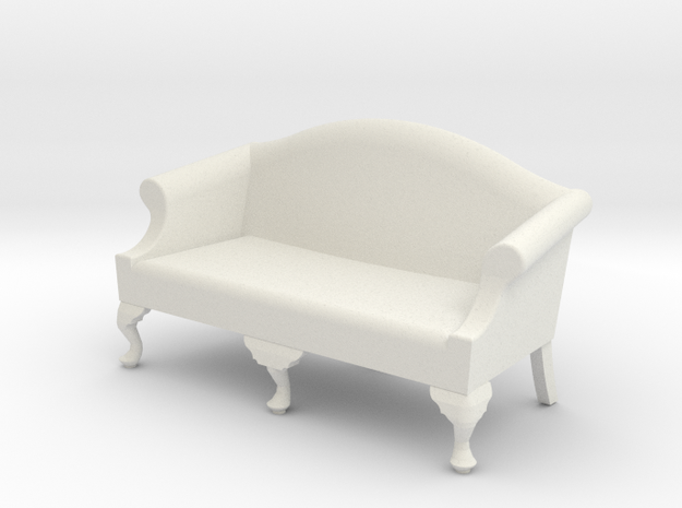 1:24 Queen Anne Sofa, Medium in White Natural Versatile Plastic