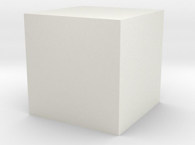 1cm Solid Cube in White Natural Versatile Plastic