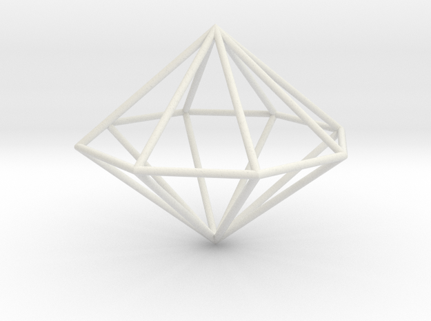octagonal dipyramid 70mm in White Natural Versatile Plastic