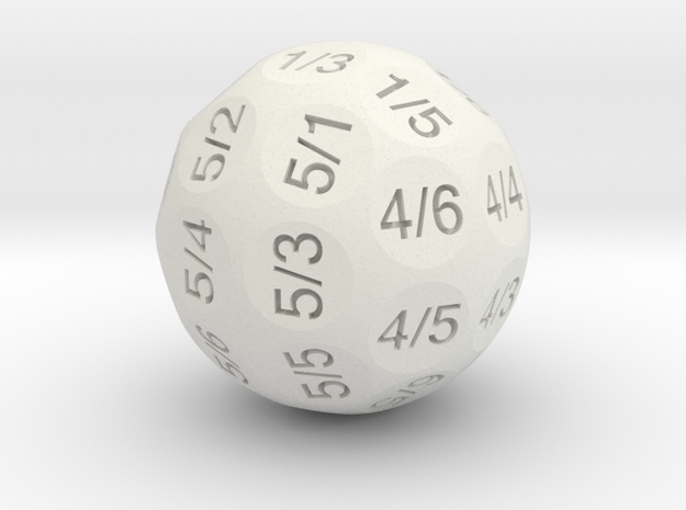 D36 Truncated Individual Numbers in White Natural Versatile Plastic