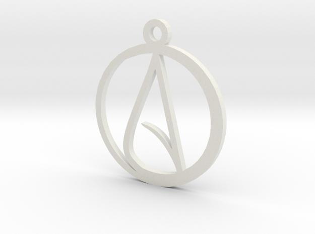 Atheist Pendant in White Natural Versatile Plastic