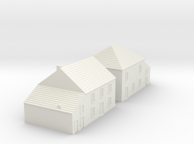 1/350 Village Houses 5 in White Natural Versatile Plastic