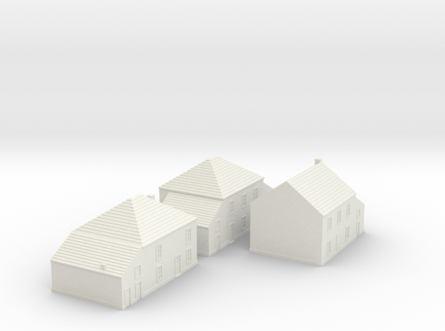 1/350 Village Houses 3 in White Natural Versatile Plastic