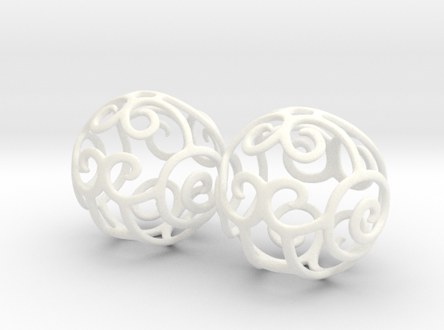 Filigree Sphere EARRINGS  in White Processed Versatile Plastic