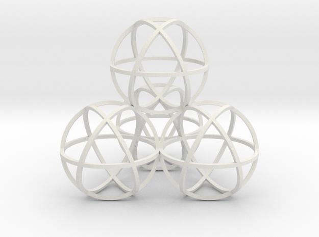 Sphere Tetrahedron in White Natural Versatile Plastic