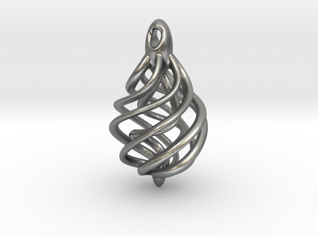 DNA Teardrop Pendant 3d printed Polished Silver (brand new)