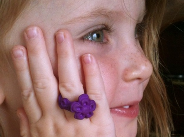 Child Flower Ring Size 2 in Purple Processed Versatile Plastic