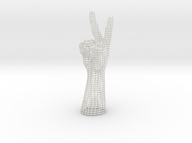 PEACE HAND in White Natural Versatile Plastic